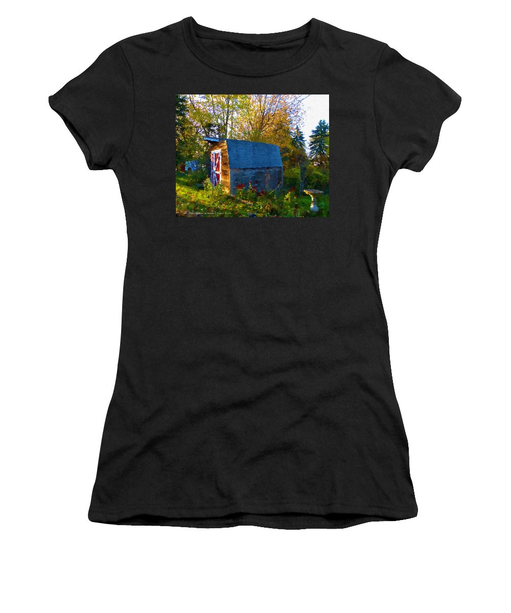 Papa Old Barn Women's T-Shirt (Athletic Fit) featuring the painting Papa's Old Barn by Michael DArienzo