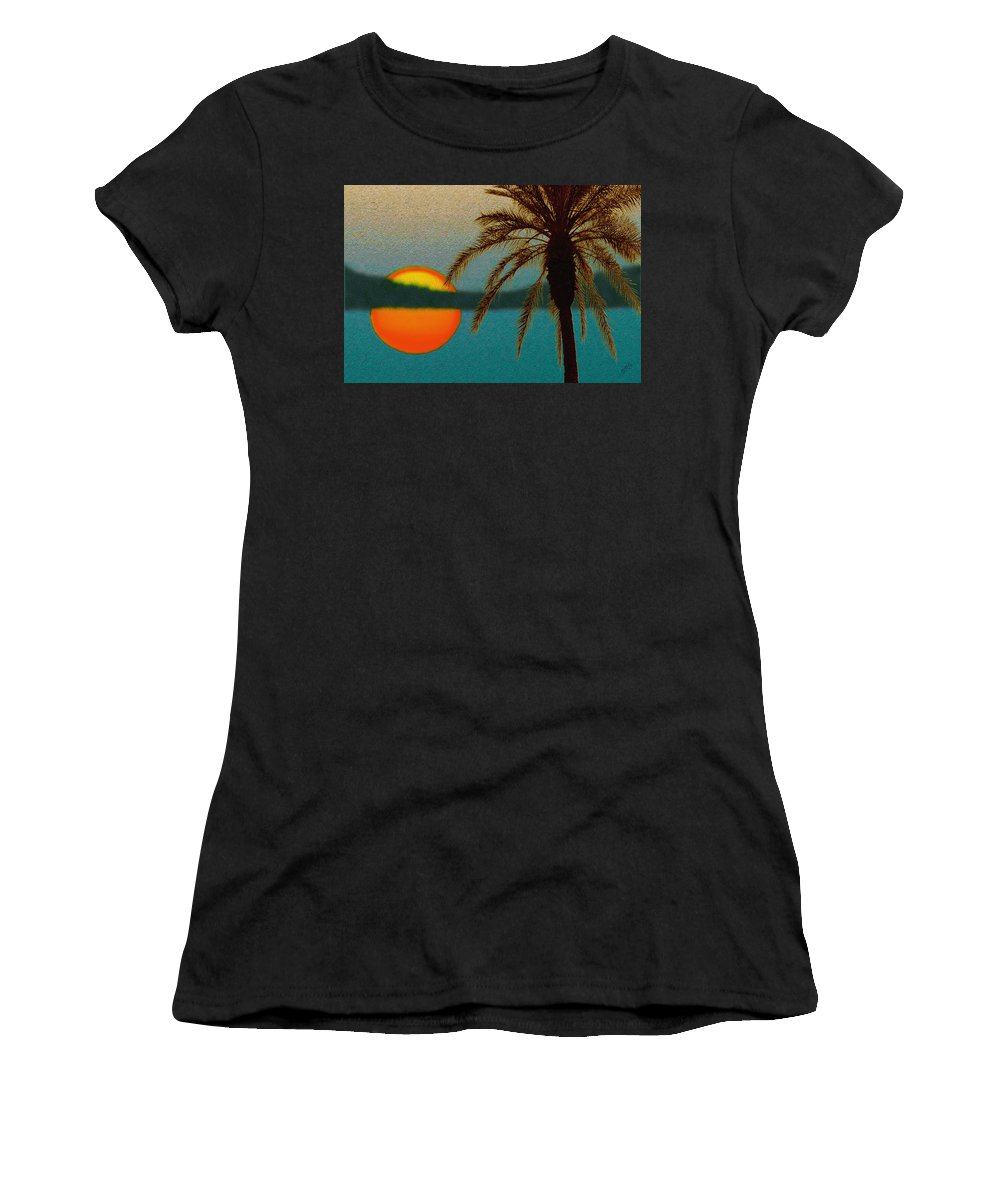Sunset Women's T-Shirt (Athletic Fit) featuring the digital art Paradise Sun by Ben and Raisa Gertsberg