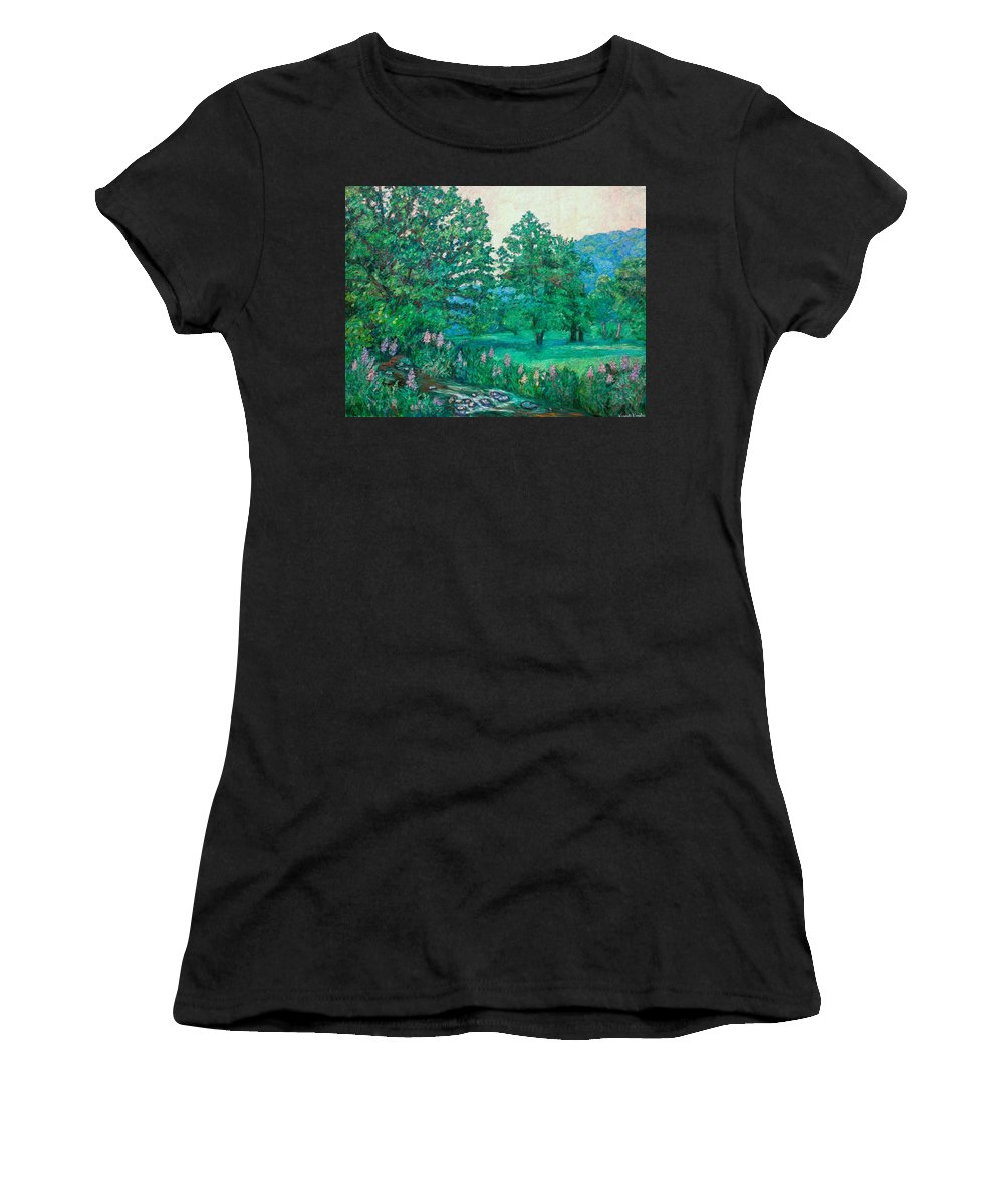 Landscape Women's T-Shirt (Athletic Fit) featuring the painting Park Road In Radford by Kendall Kessler