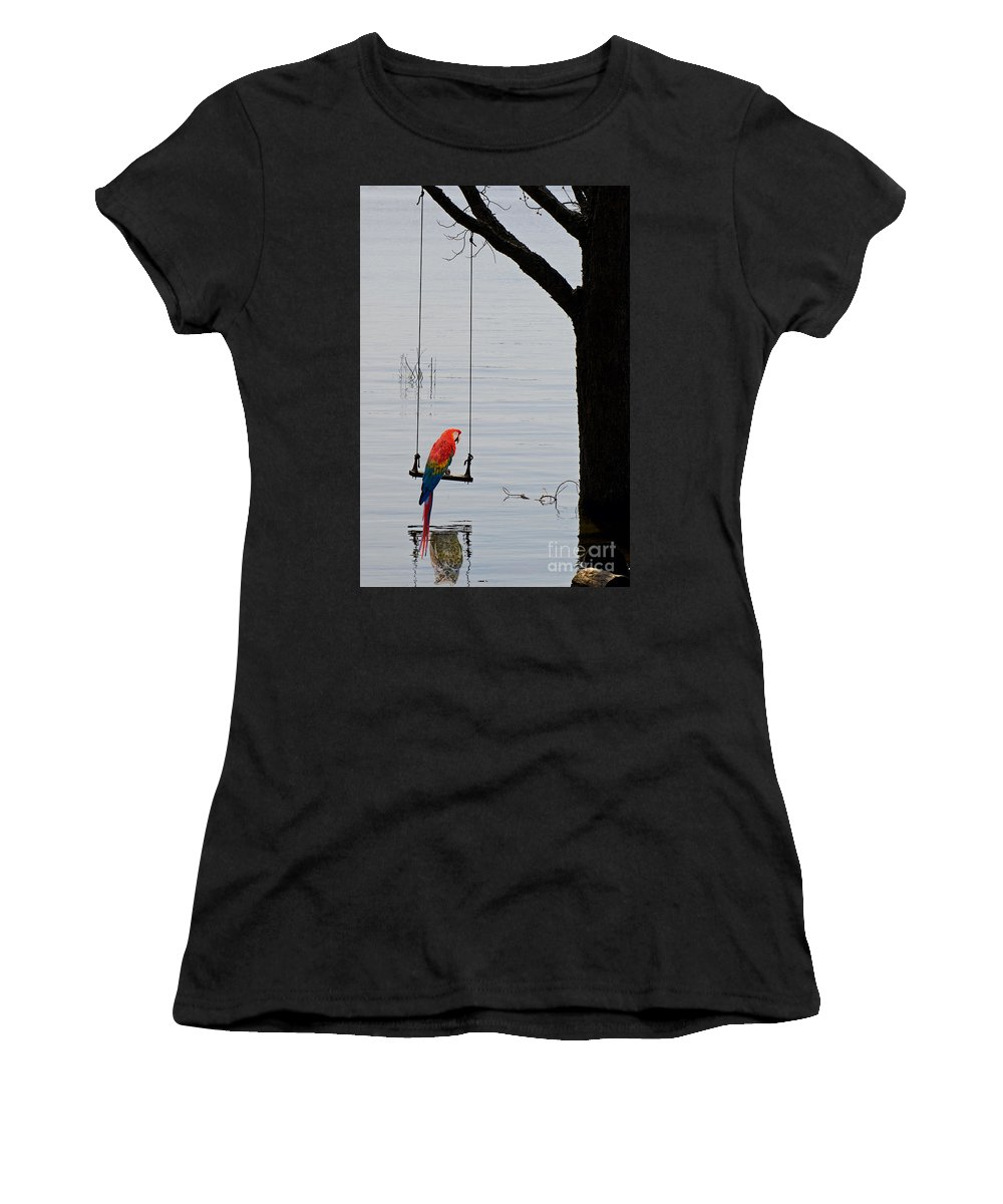 Tree Women's T-Shirt featuring the photograph Parrot On A Swing by Les Palenik