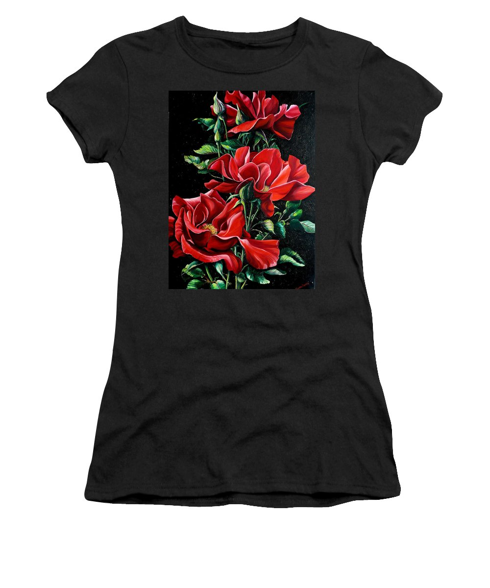 Rose Paintings Red Floral Paintings Flower Paintings  Botanical Paintings Red Rose Paintings Greeting Card Paintings Canvas Print Paintings  Women's T-Shirt (Athletic Fit) featuring the painting Passionately Red by Karin Dawn Kelshall- Best