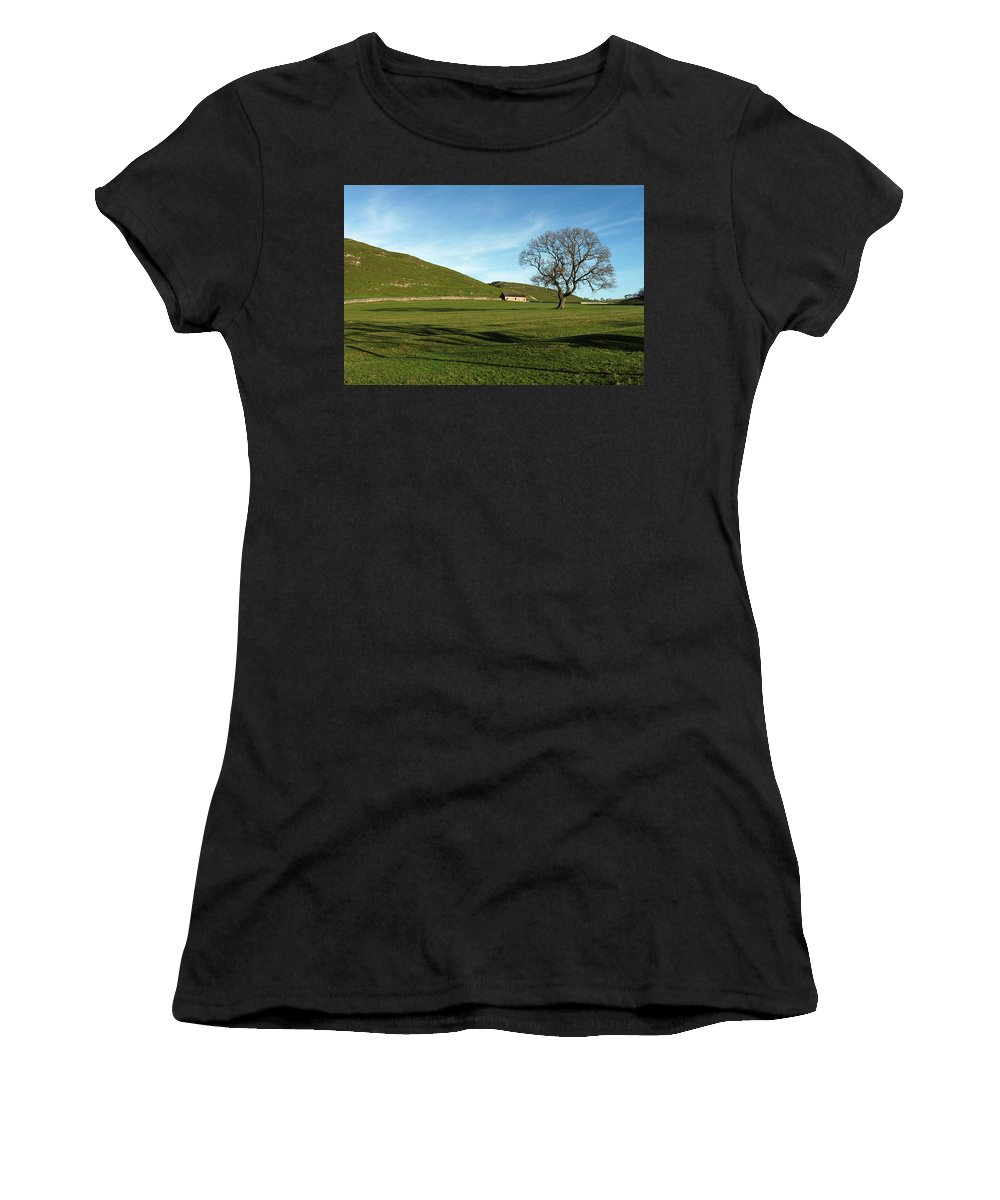 Britain Women's T-Shirt (Athletic Fit) featuring the photograph Pasture Land At Thorpe - Derbyshire by Rod Johnson