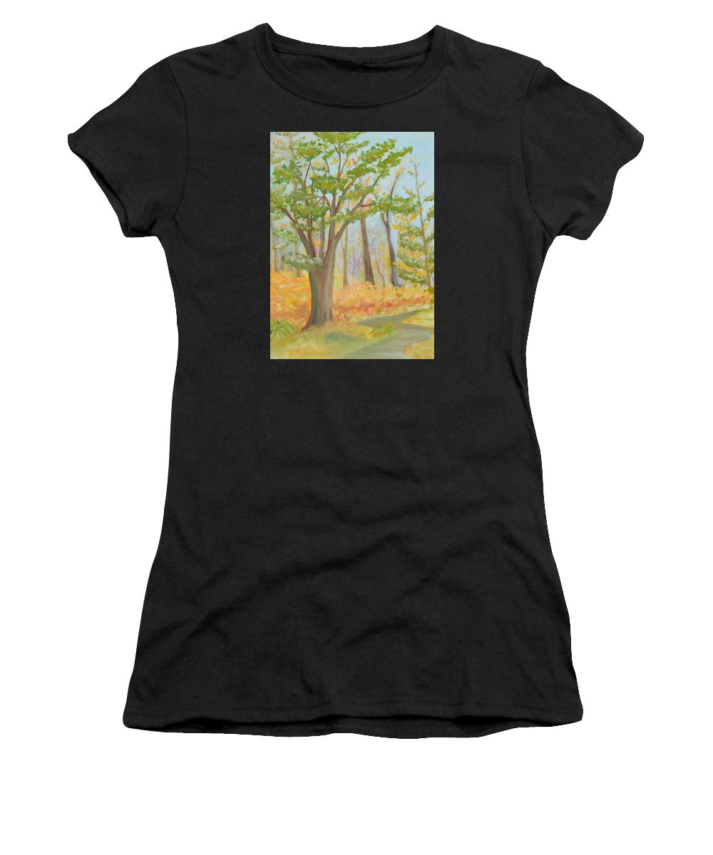 Path Women's T-Shirt featuring the painting Path Of Trees by Meganne Peck