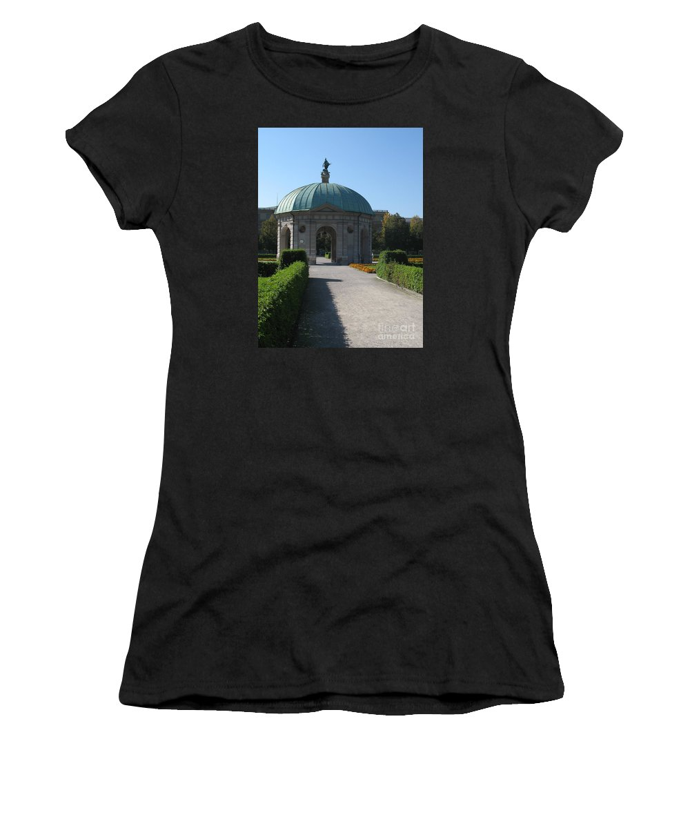 Pavilon Women's T-Shirt (Athletic Fit) featuring the photograph Pavilion Residence Garden - Munich by Christiane Schulze Art And Photography