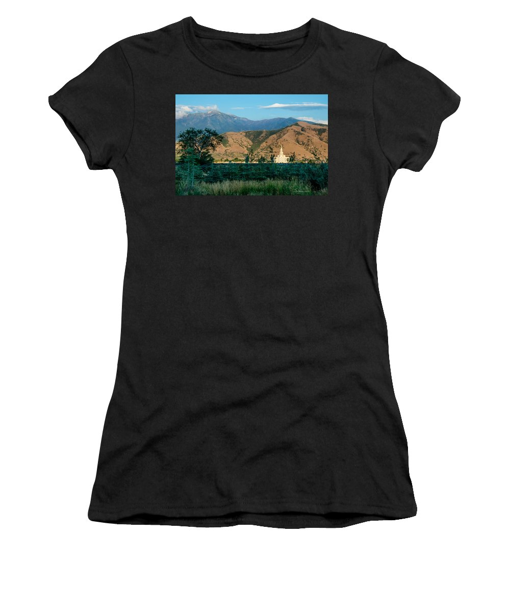Lds Temples Women's T-Shirt featuring the photograph Payson Temple Mountains by La Rae Roberts