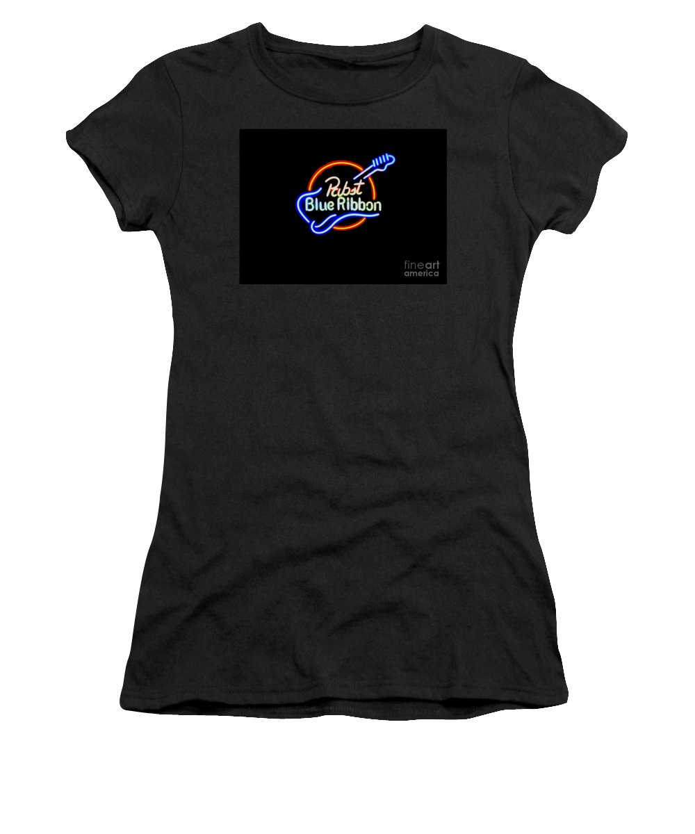 Women's T-Shirt (Athletic Fit) featuring the photograph Pbr Guitar by Kelly Awad