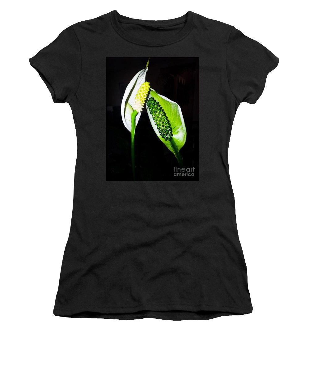 Flower Women's T-Shirt featuring the photograph Peace Lilies by Donna Brown