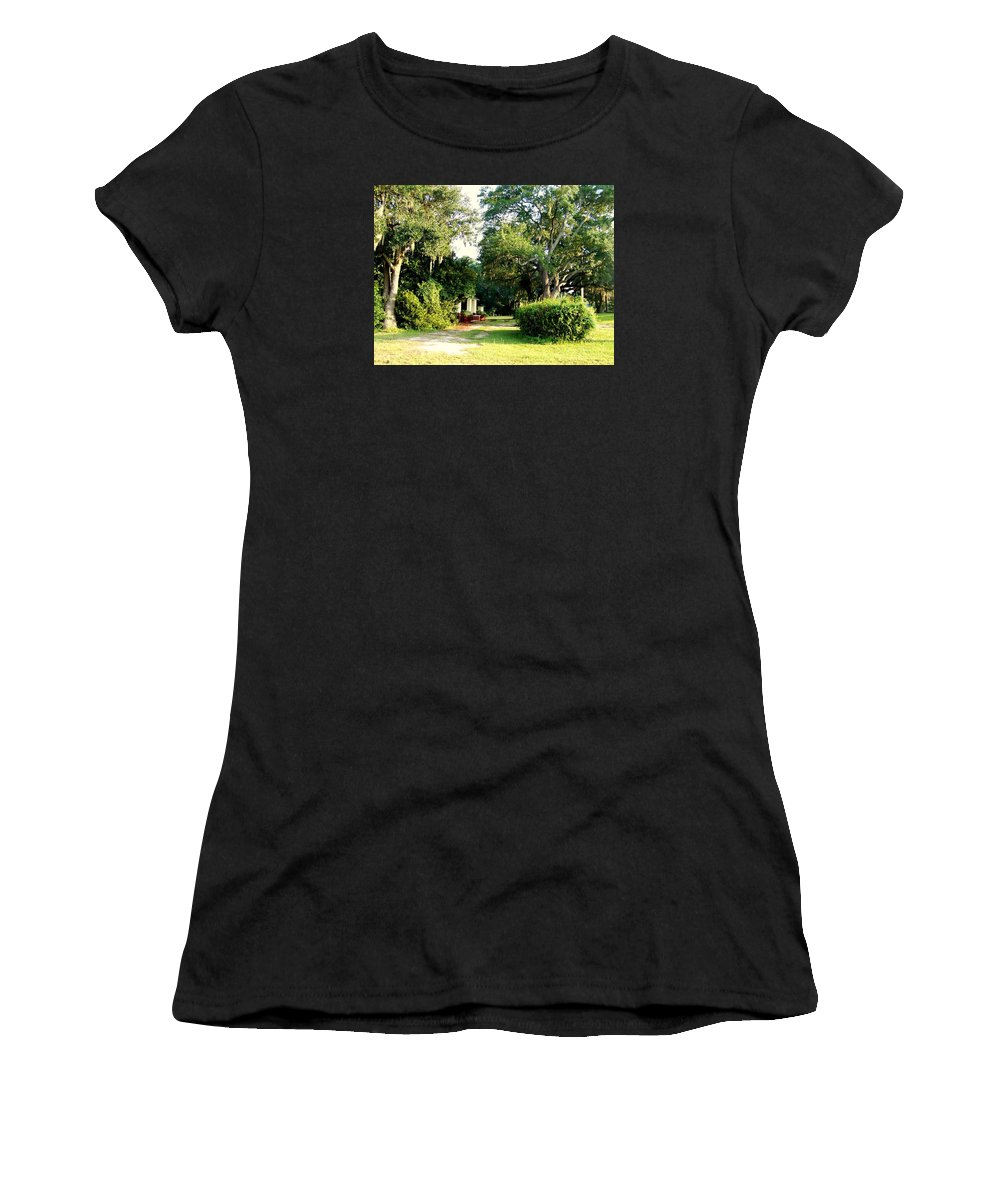 Gazebo Women's T-Shirt (Athletic Fit) featuring the photograph Peaceful Morning by Catherine Gagne