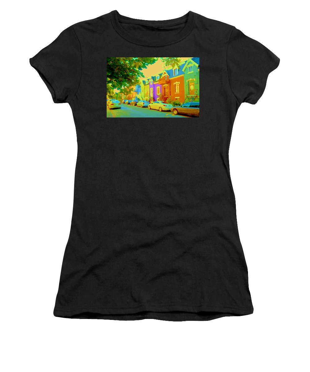 Montreal Women's T-Shirt (Athletic Fit) featuring the painting Peaceful Painted Pastel Rowhouses Printemps Plateau Montreal Scene Du Rue Carole Spandau by Carole Spandau