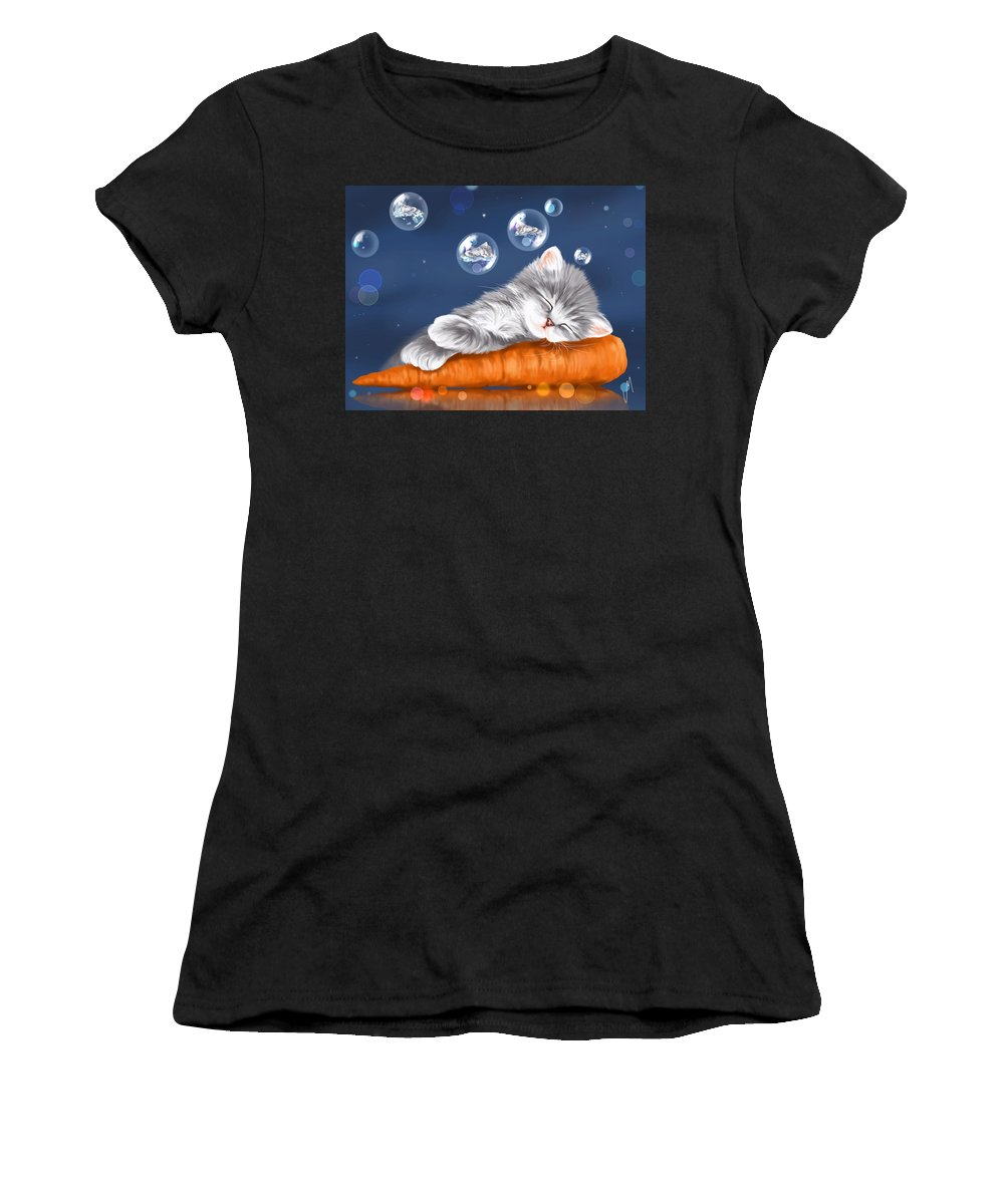 Cat Women's T-Shirt (Athletic Fit) featuring the painting Peaceful Sleep by Veronica Minozzi