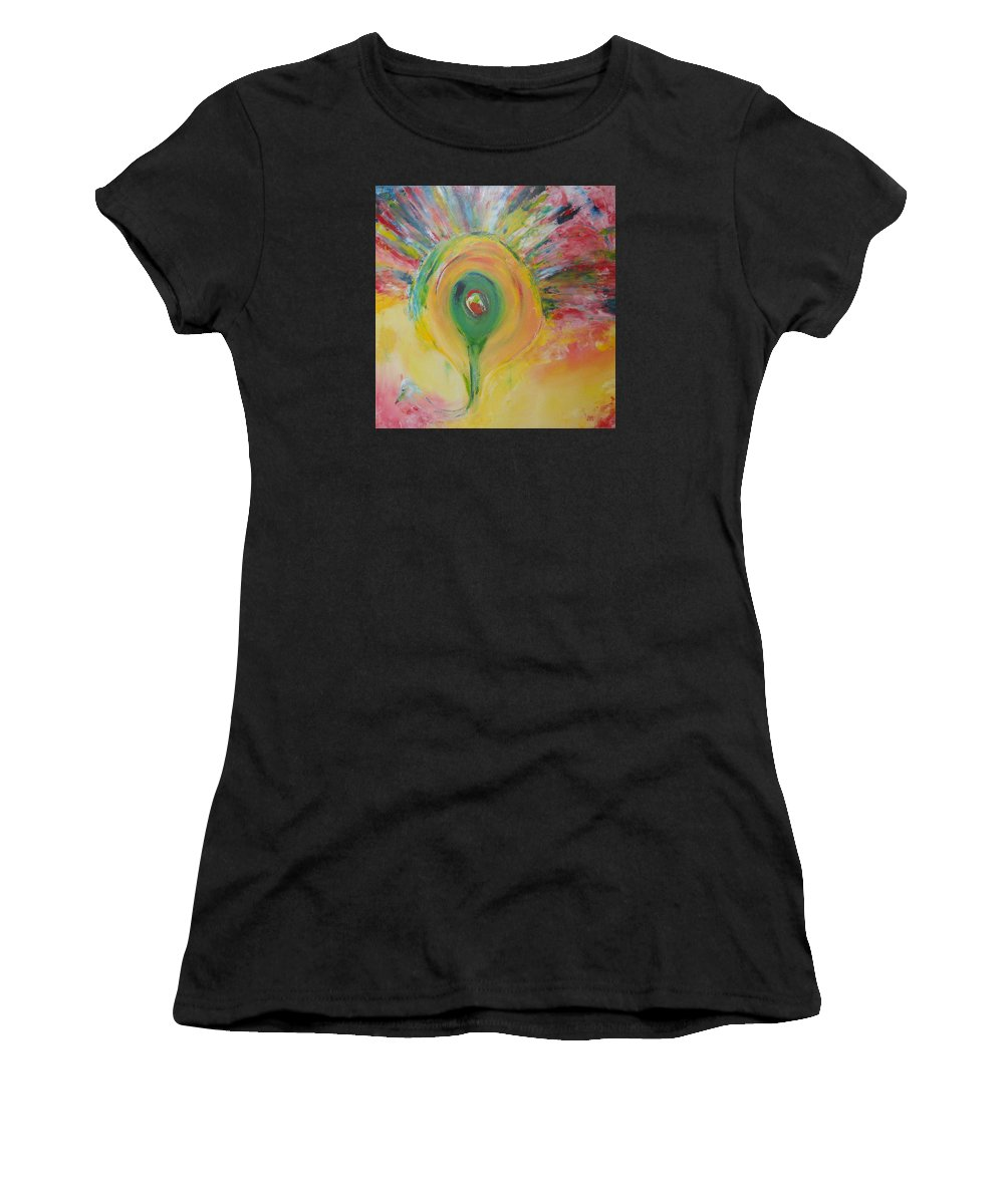 Bird Women's T-Shirt featuring the painting Peacock by Ank Draijer