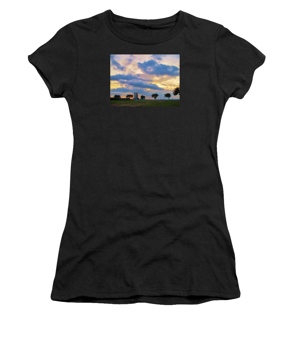 Clouds Women's T-Shirt (Athletic Fit) featuring the photograph Lakeway Pelican Cloud by Deborah Lacoste