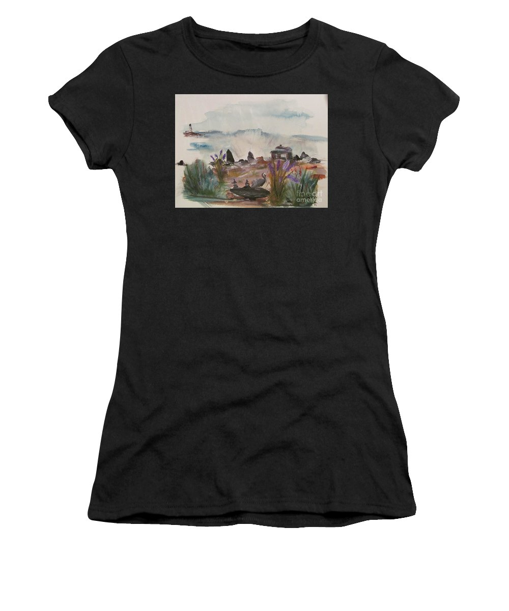 Pelican Women's T-Shirt featuring the painting Pelican Point by Susan Voidets
