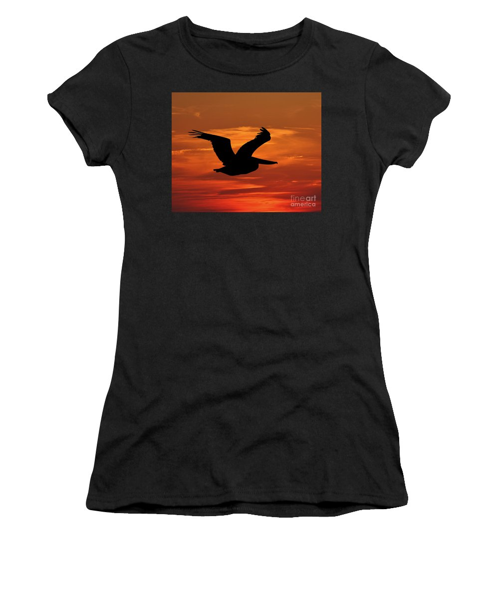 Pelican Silhouette Women's T-Shirt (Athletic Fit) featuring the photograph Pelican Profile by Al Powell Photography USA