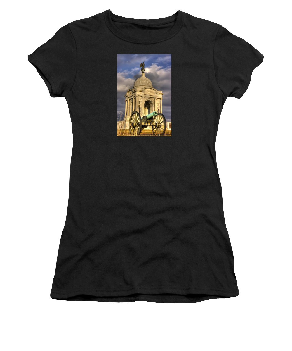 Civil War Women's T-Shirt featuring the photograph Pennsylvania At Gettysburg 2a - State Monument - Hancock Ave At Pleasonton Ave Late Afternoon Winter by Michael Mazaika