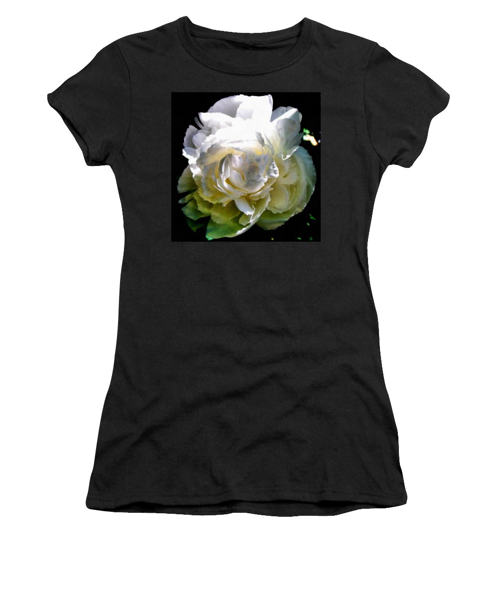 White Peony Women's T-Shirt featuring the photograph Peony In Morning Sun by Michelle Calkins