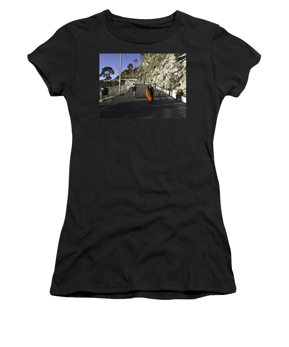 Clinging To Mountainside Women's T-Shirt (Athletic Fit) featuring the photograph People Walking On The Path Leading To Shrine Of Vaishno Devi by Ashish Agarwal
