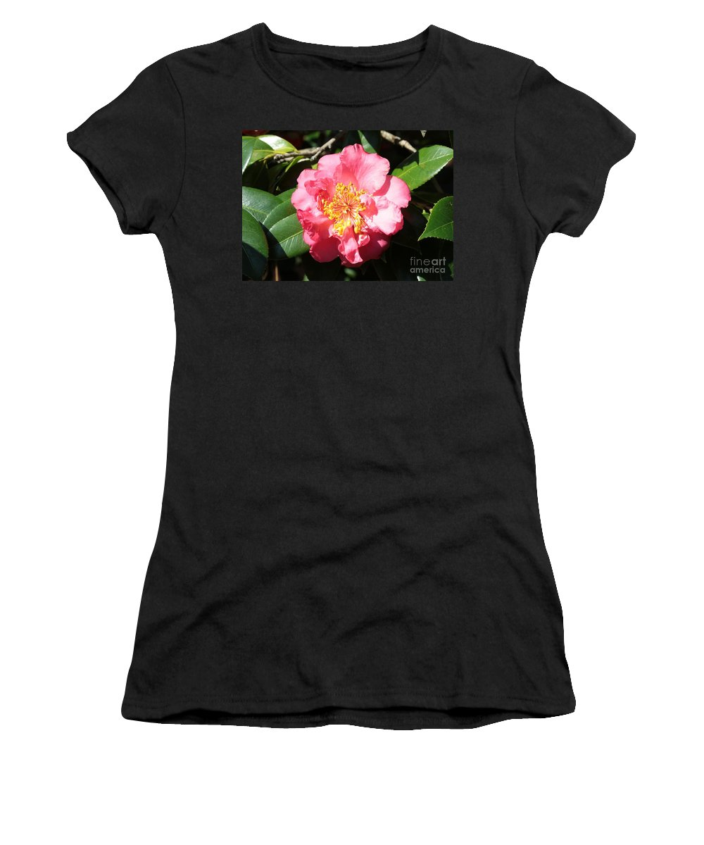 Camellia Women's T-Shirt (Athletic Fit) featuring the photograph Perfect Pink Camellia by Carol Groenen