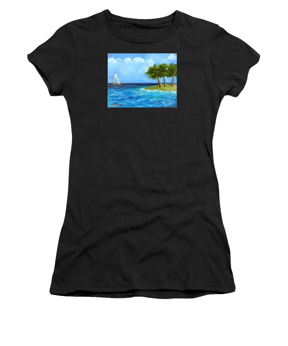 Boats Women's T-Shirt (Athletic Fit) featuring the painting Perfect Sailing Day by Laurie Morgan