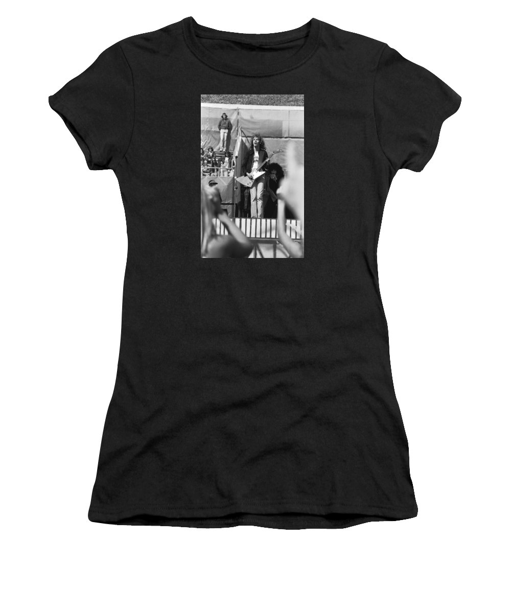 Peter Frampton Women's T-Shirt (Athletic Fit) featuring the photograph Day On The Green 6-6-76 #5 by Ben Upham