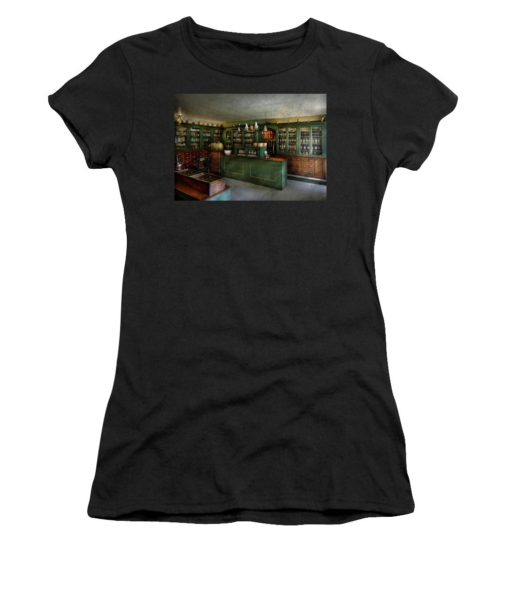 Apothecary Women's T-Shirt featuring the photograph Pharmacy - The Chemist Shop by Mike Savad
