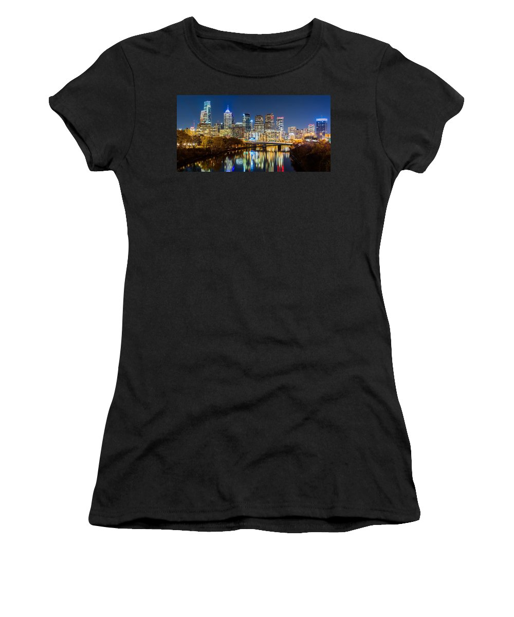 America Women's T-Shirt (Athletic Fit) featuring the photograph Philadelphia Cityscape Panorama By Night by Mihai Andritoiu