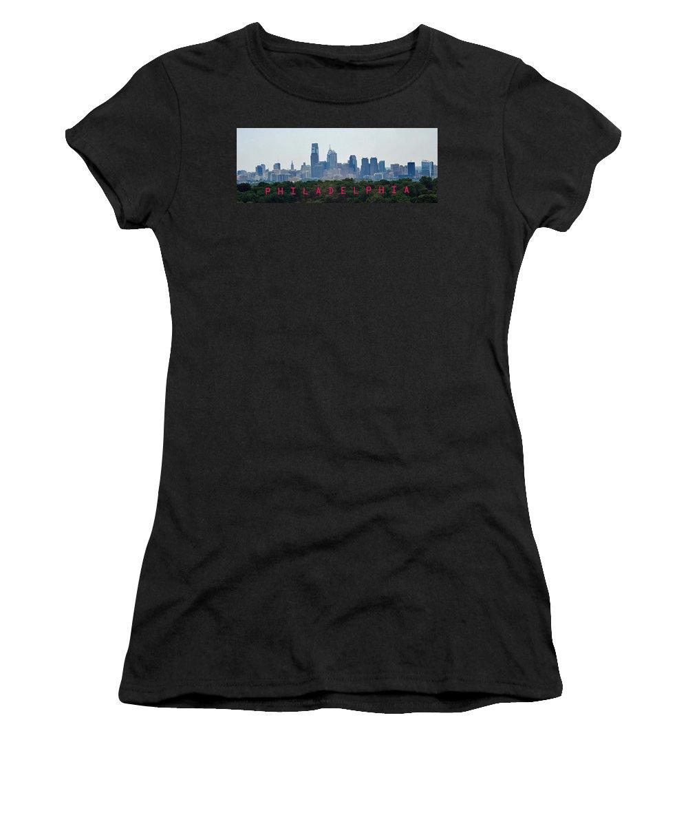 Philadelphia Women's T-Shirt featuring the photograph Philadelphia Skyline Poster by Ian MacDonald