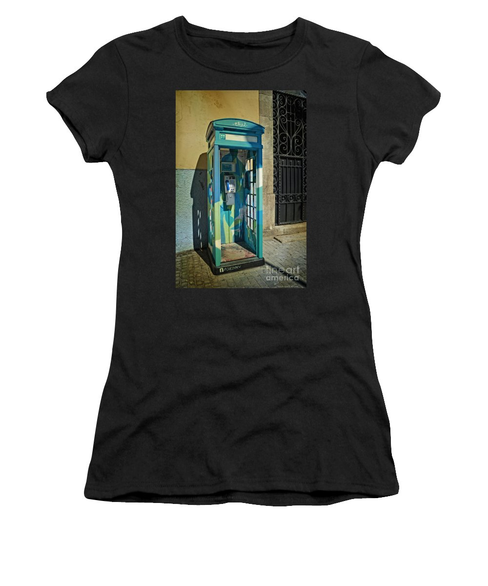 Phone Booth In Blues - Oporto Women's T-Shirt featuring the photograph Phone Booth In Blues - Oporto by Mary Machare