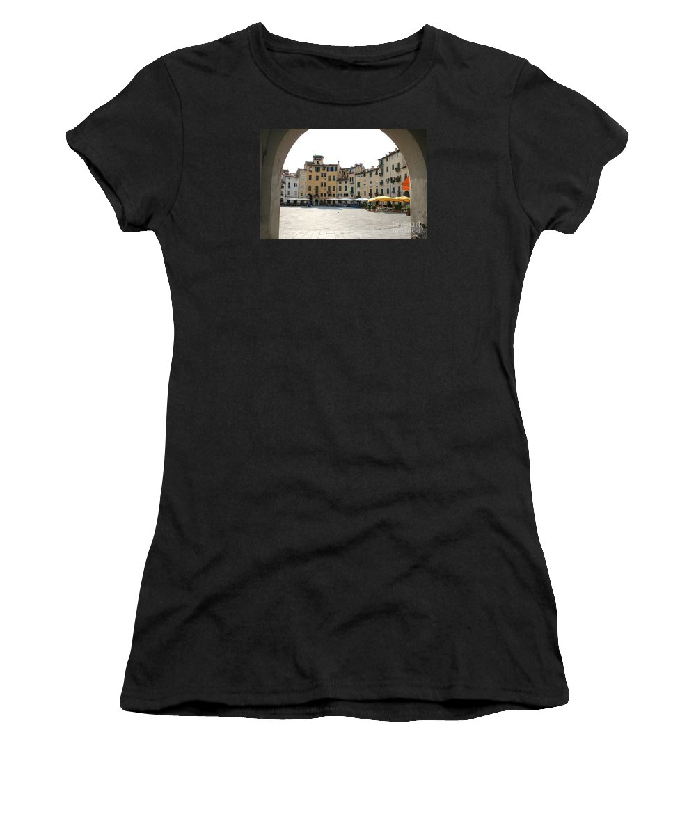 Piazza Del Mercato Women's T-Shirt (Athletic Fit) featuring the photograph Piazza Del Mercato Lucca by Christiane Schulze Art And Photography