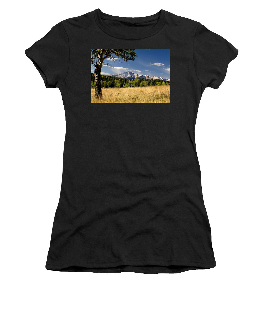 Pikes Peak Women's T-Shirt (Athletic Fit) featuring the photograph Pikes Peak And Snow by Carol Milisen
