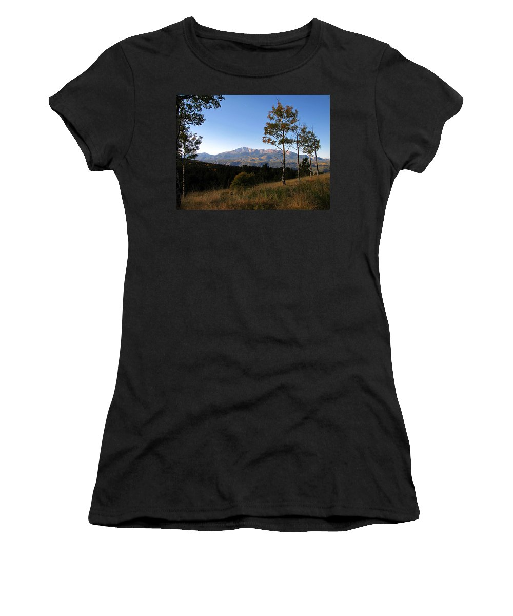 Pikes Peak Women's T-Shirt (Athletic Fit) featuring the photograph Pikes Peak Landscape by Carol Milisen