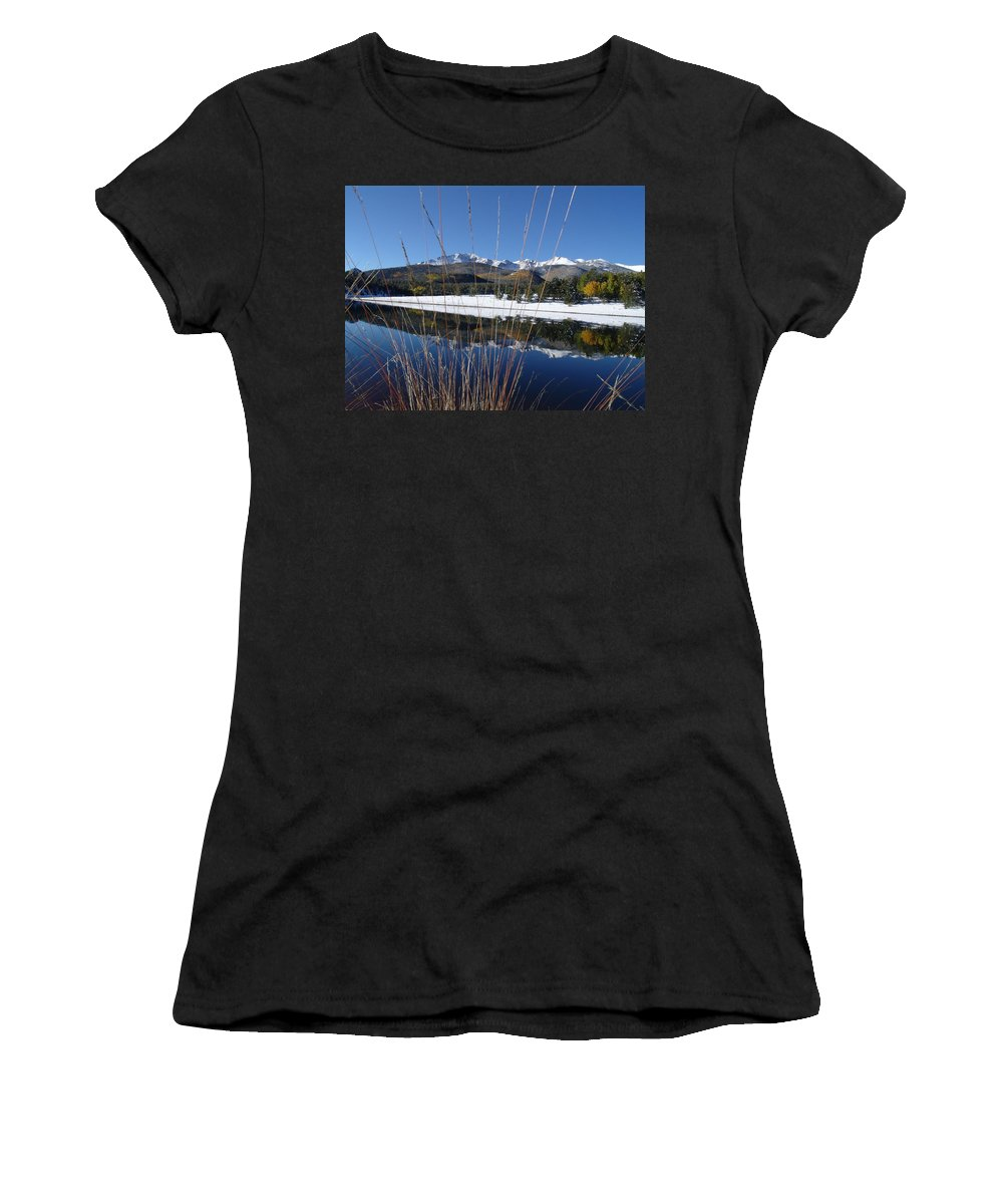 Pikes Peak Women's T-Shirt (Athletic Fit) featuring the photograph Pikes Peak Through The Grass by Carol Milisen