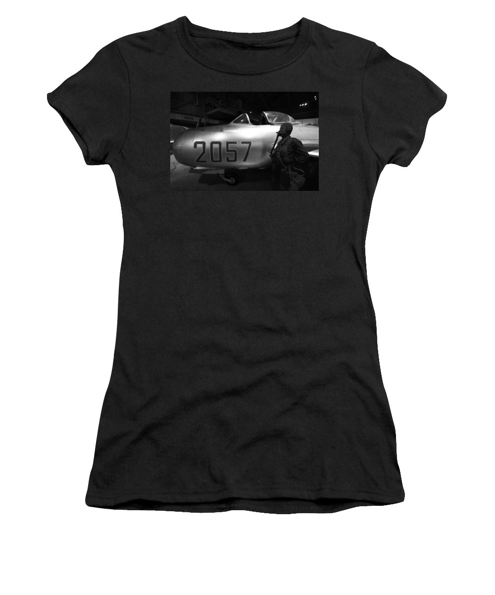 Pilot And His Airplane In The Hangar Women's T-Shirt (Athletic Fit) featuring the photograph Pilot And His Airplane In The Hangar by Dan Sproul