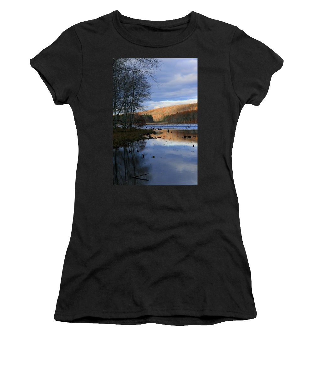 Lake Women's T-Shirt featuring the photograph Pine Acres Lake Reflections by Neal Eslinger