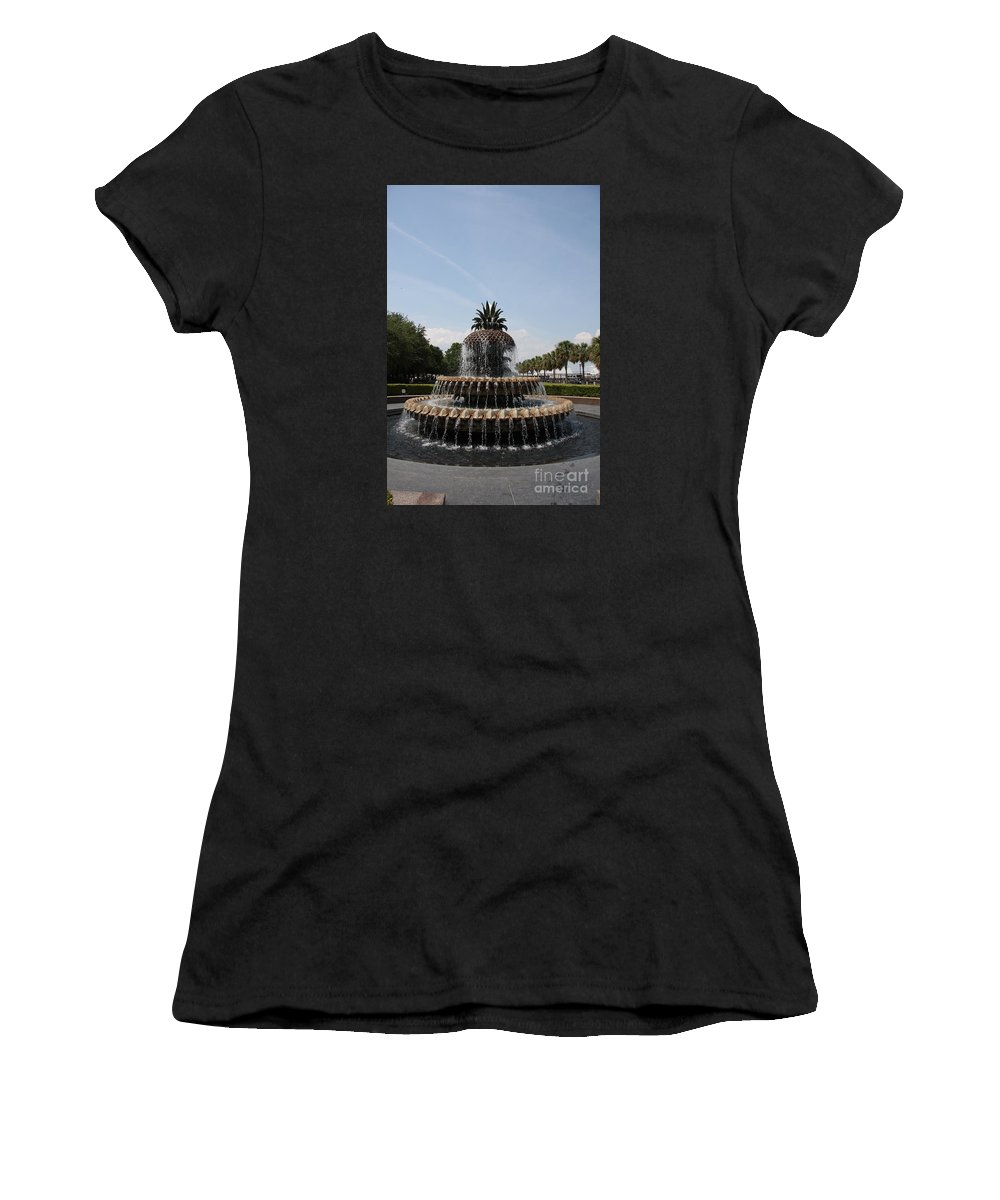 Pineapple Women's T-Shirt featuring the photograph Pineapple Fountain Charleston by Christiane Schulze Art And Photography