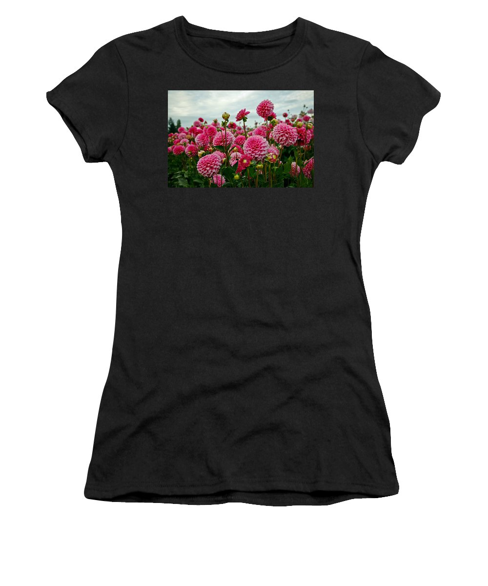Dahlia Women's T-Shirt (Athletic Fit) featuring the photograph Pink Dahlia Field by Athena Mckinzie
