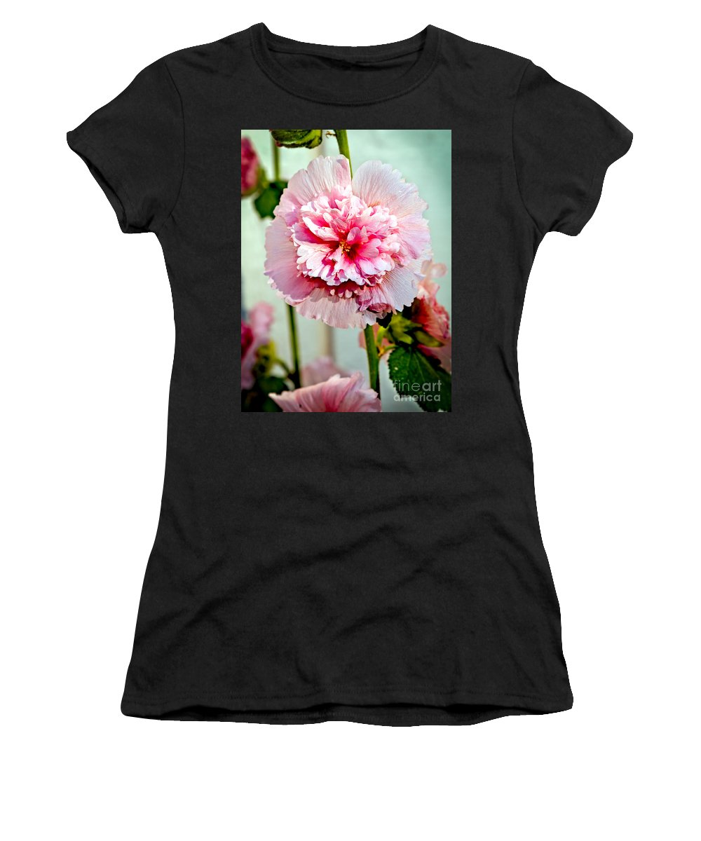 Alcea Women's T-Shirt featuring the photograph Pink Double Hollyhock by Robert Bales