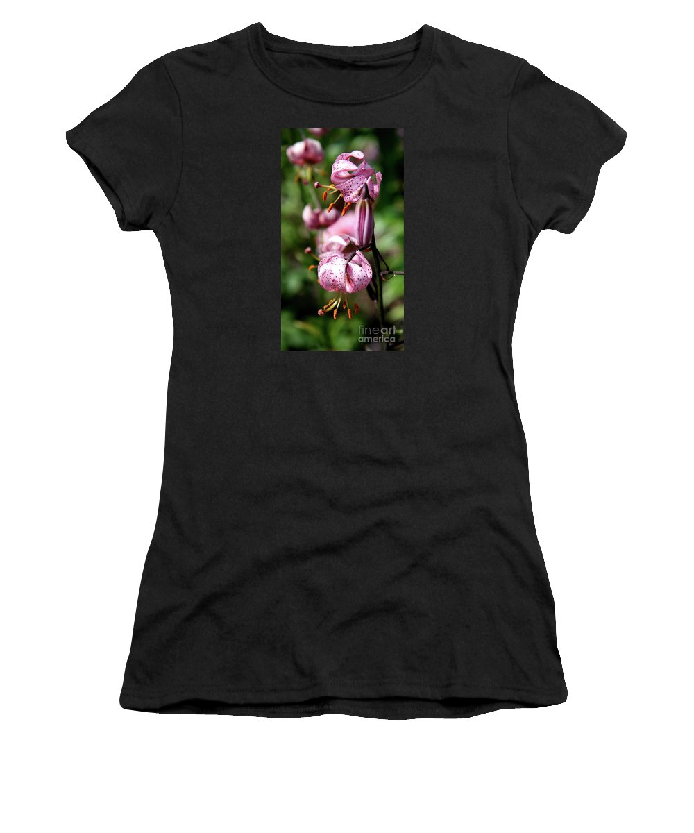 Pink Lilies Women's T-Shirt featuring the photograph Pink Lilies by Christiane Schulze Art And Photography