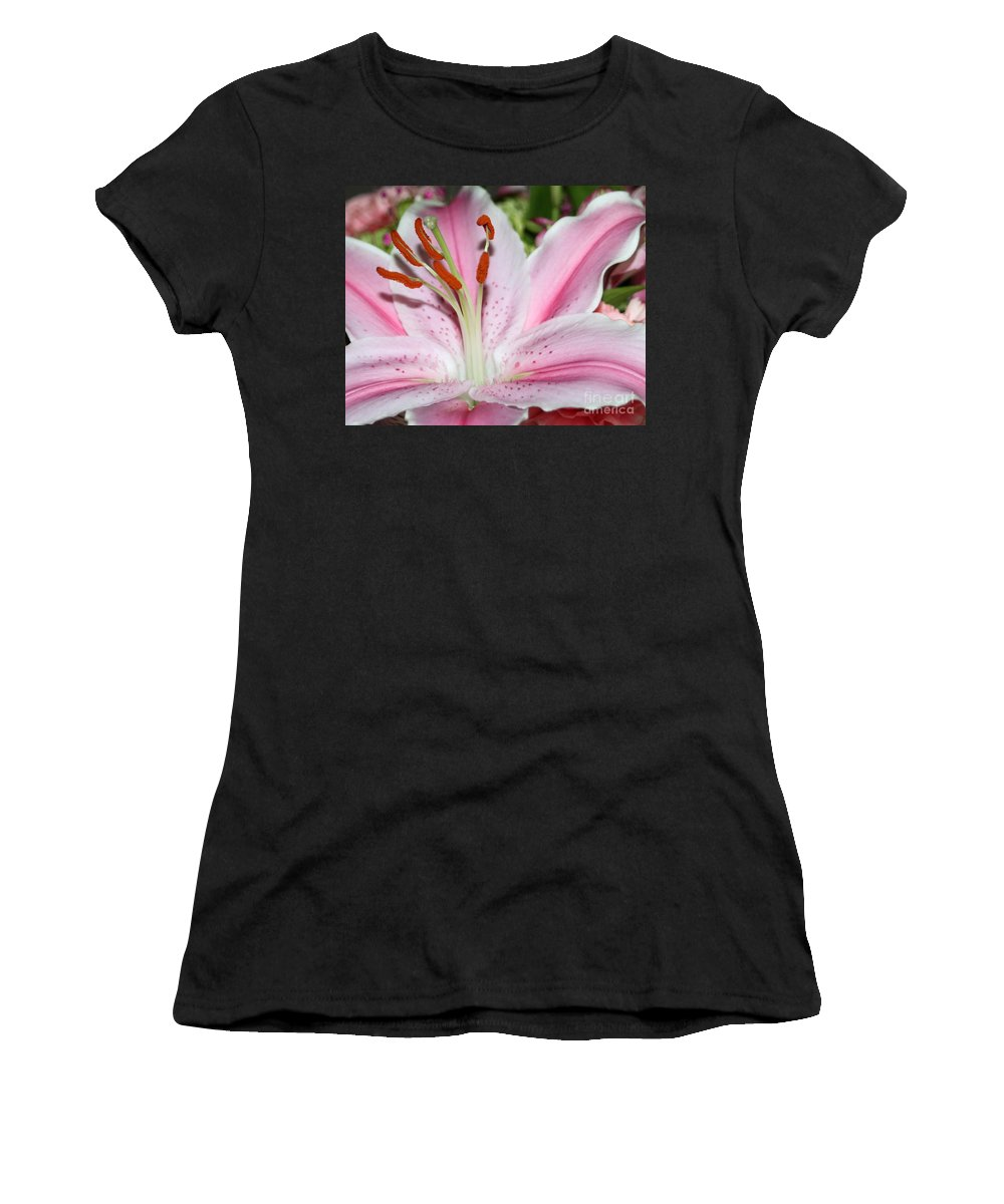Thegypsylens Women's T-Shirt featuring the photograph Pink Lily by Ashley M Conger