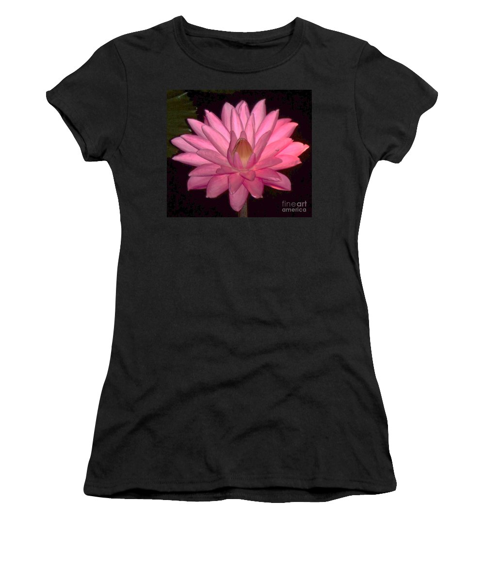 Floral Women's T-Shirt (Athletic Fit) featuring the photograph Pink Lily Flower by Eric Schiabor