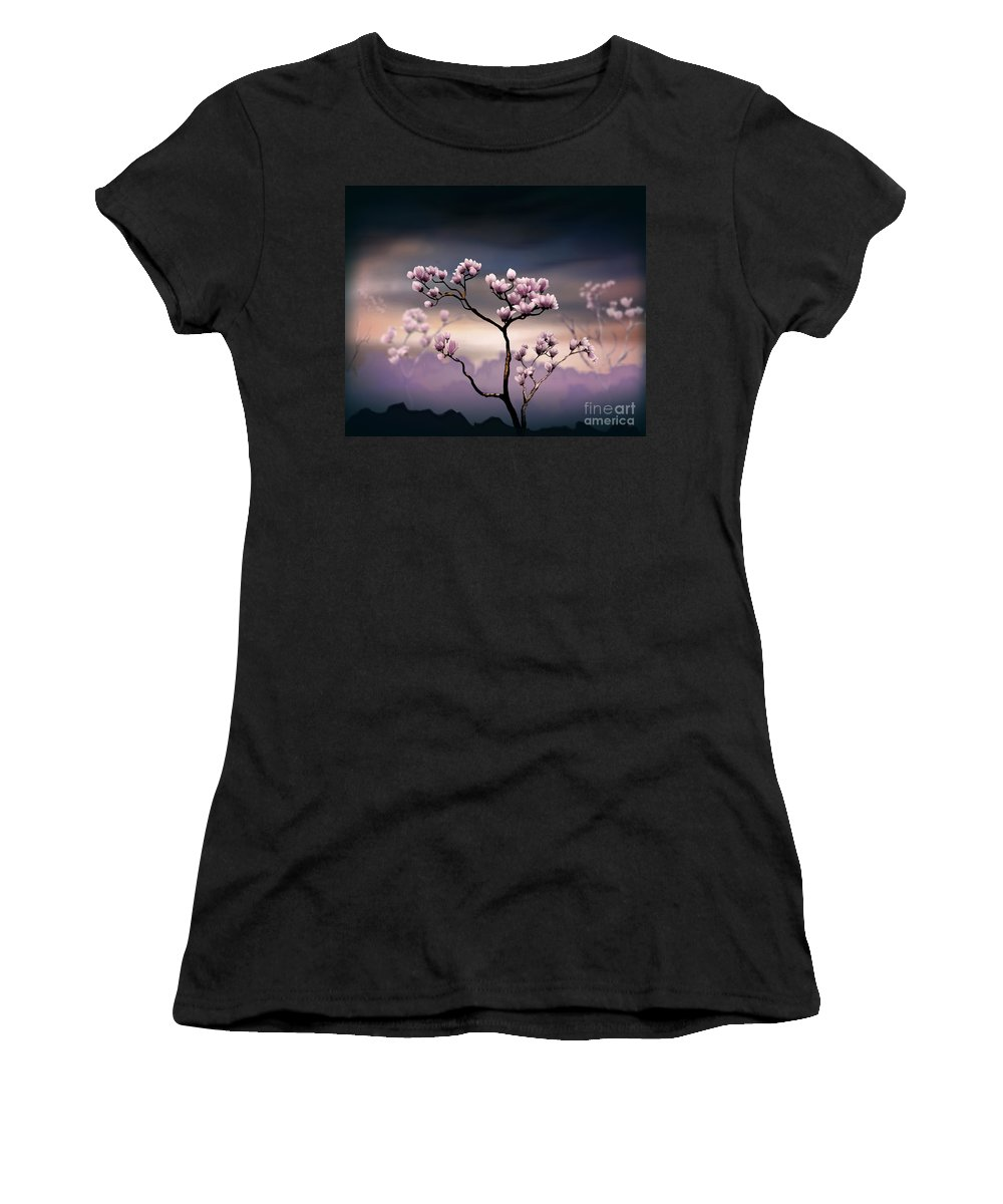 Pink Women's T-Shirt (Athletic Fit) featuring the digital art Pink Magnolia - Dark Version by Peter Awax