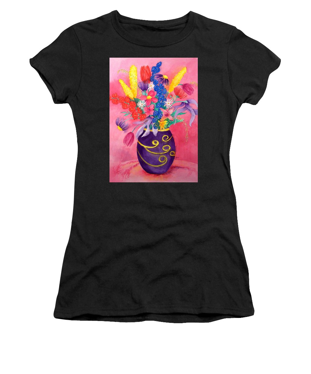 Pink Women's T-Shirt featuring the painting Pink Persuasion by Rhonda Leonard