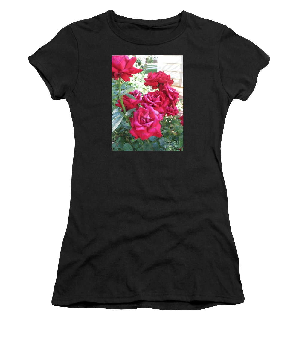 Photography Women's T-Shirt featuring the photograph Pink Roses by Chrisann Ellis