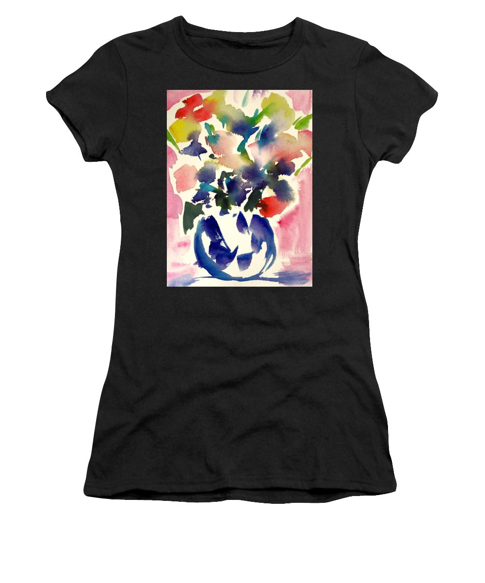 Modern Floral Women's T-Shirt featuring the painting Pink Roses In A Blue Vase by Tolere