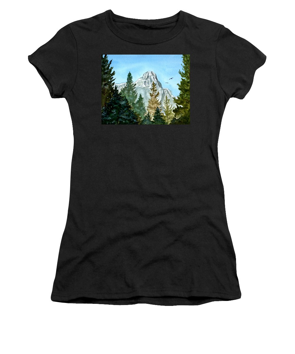 Watercolor Women's T-Shirt (Athletic Fit) featuring the painting Pinnacle by Brenda Owen