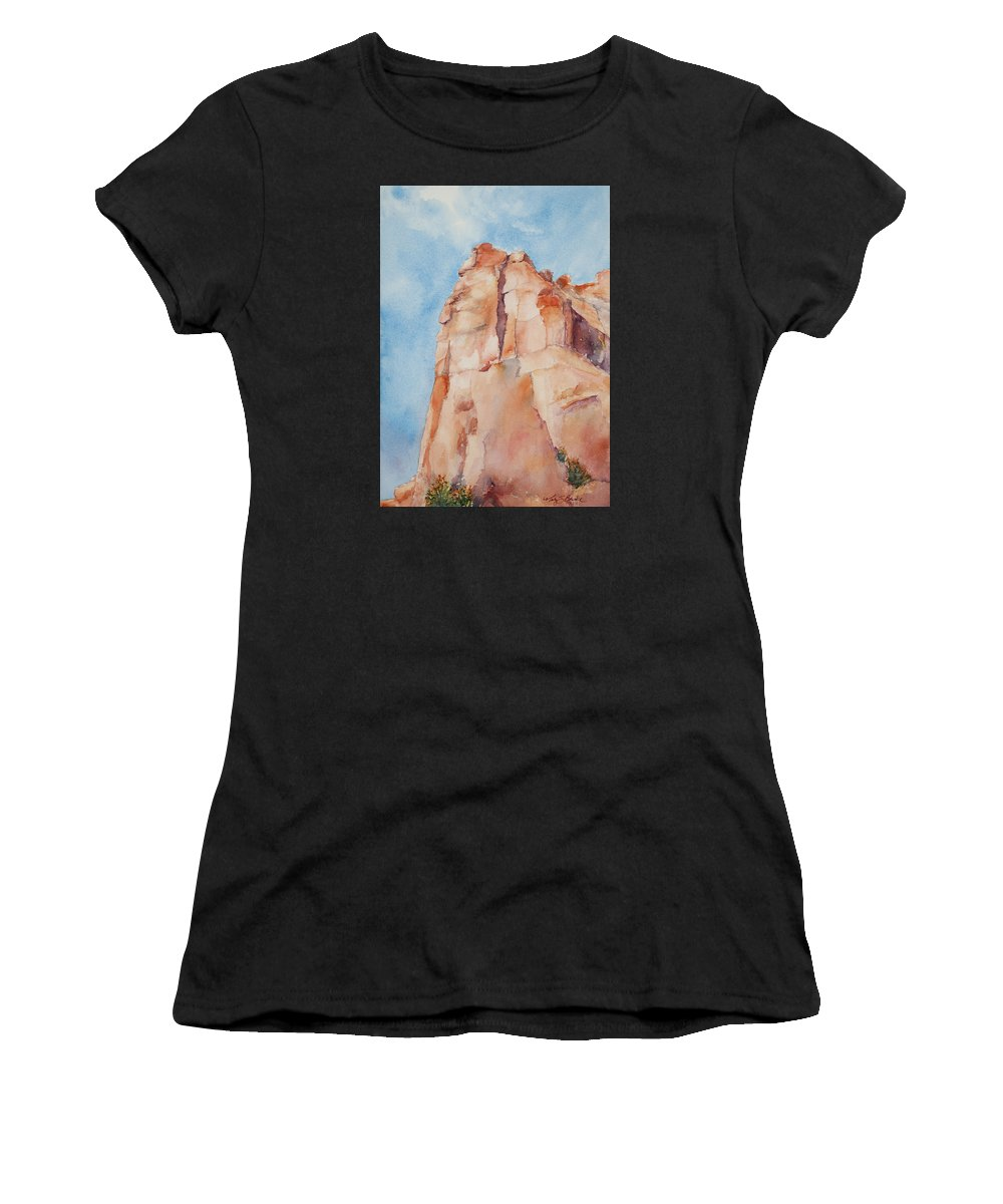 Utah Women's T-Shirt (Athletic Fit) featuring the painting Pinnacle by Mary Benke