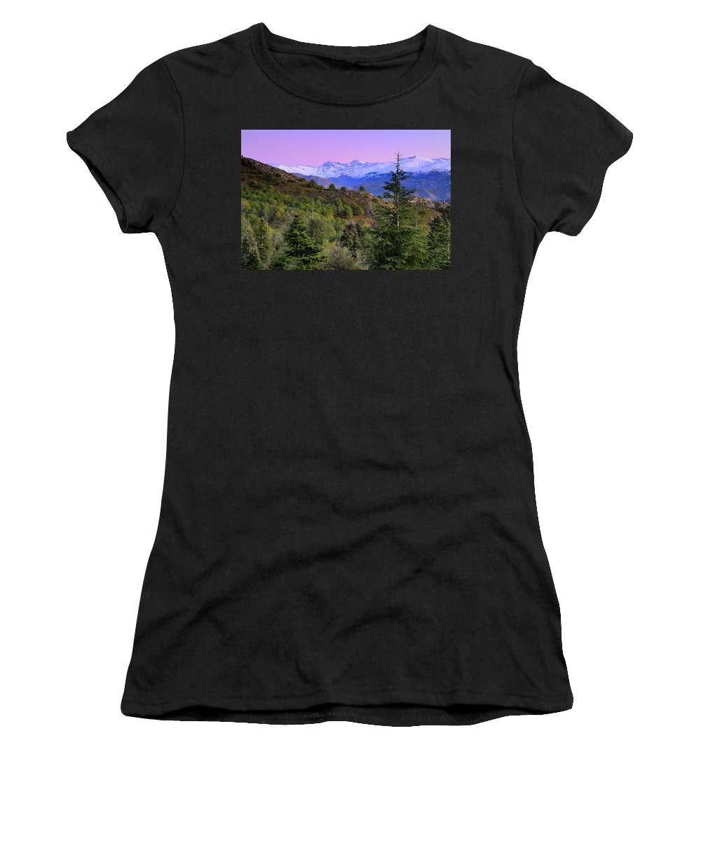 Sunset Women's T-Shirt (Athletic Fit) featuring the photograph Pinsapar At Sierra Nevada by Guido Montanes Castillo