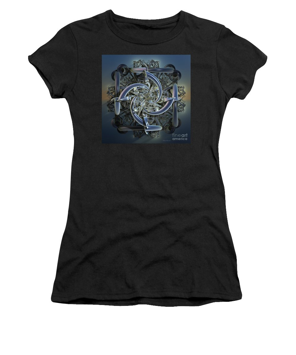 Incendia Women's T-Shirt (Athletic Fit) featuring the mixed media Pipes In Blue by Deborah Benoit