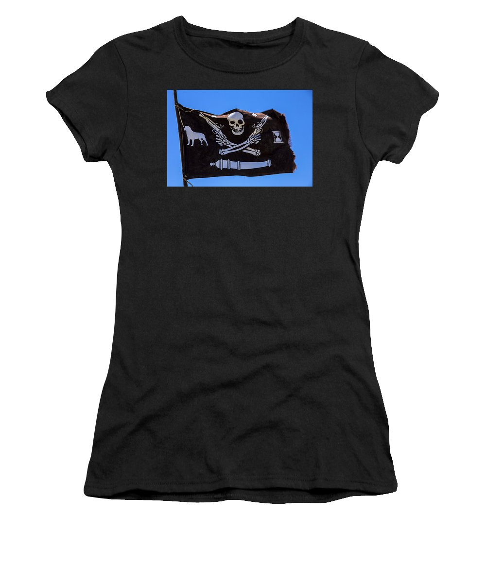 Pirate Flag Skull Banner Piracy Skull Robbers Terror Terrorist F Women's T-Shirt featuring the photograph Pirate Flag With Skull And Pistols by Garry Gay
