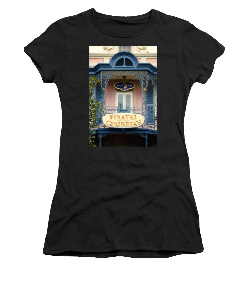 Disney Women's T-Shirt (Athletic Fit) featuring the photograph Pirates Signage New Orleans Disneyland by Thomas Woolworth